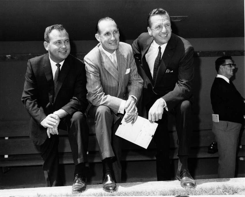 The Mets broadcast team of, from left to right, Bob Murphy, Lindsey Nelson and Ralph Kiner. All three men lived in Greenwich during portions of their Mets careers.