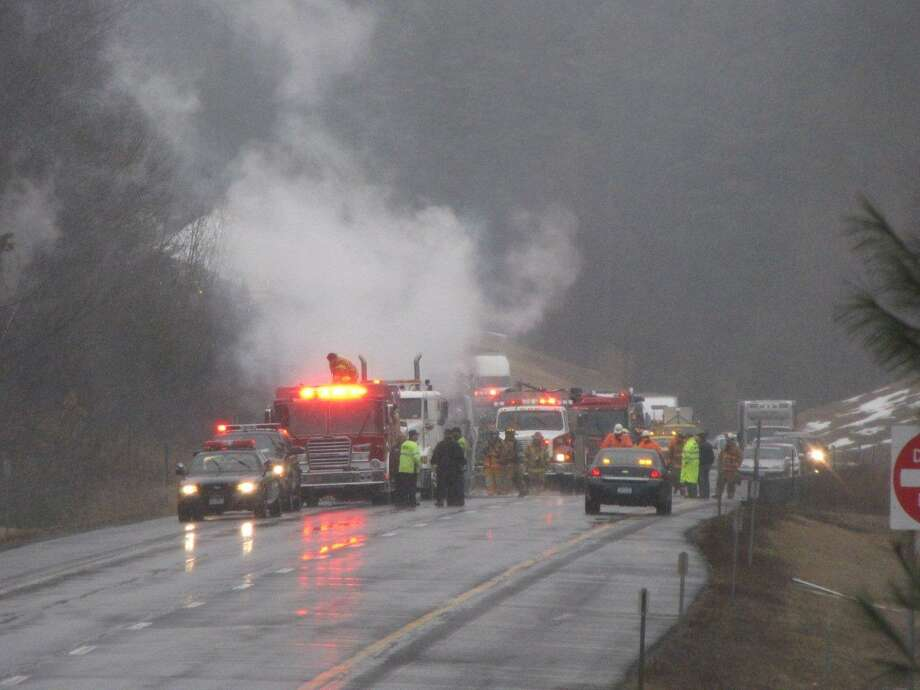 State police say a truck fire shut down a westbound stretch of the Thruway's Berkshire section in Schodack. (Marty Miller/Special to the Times Union)