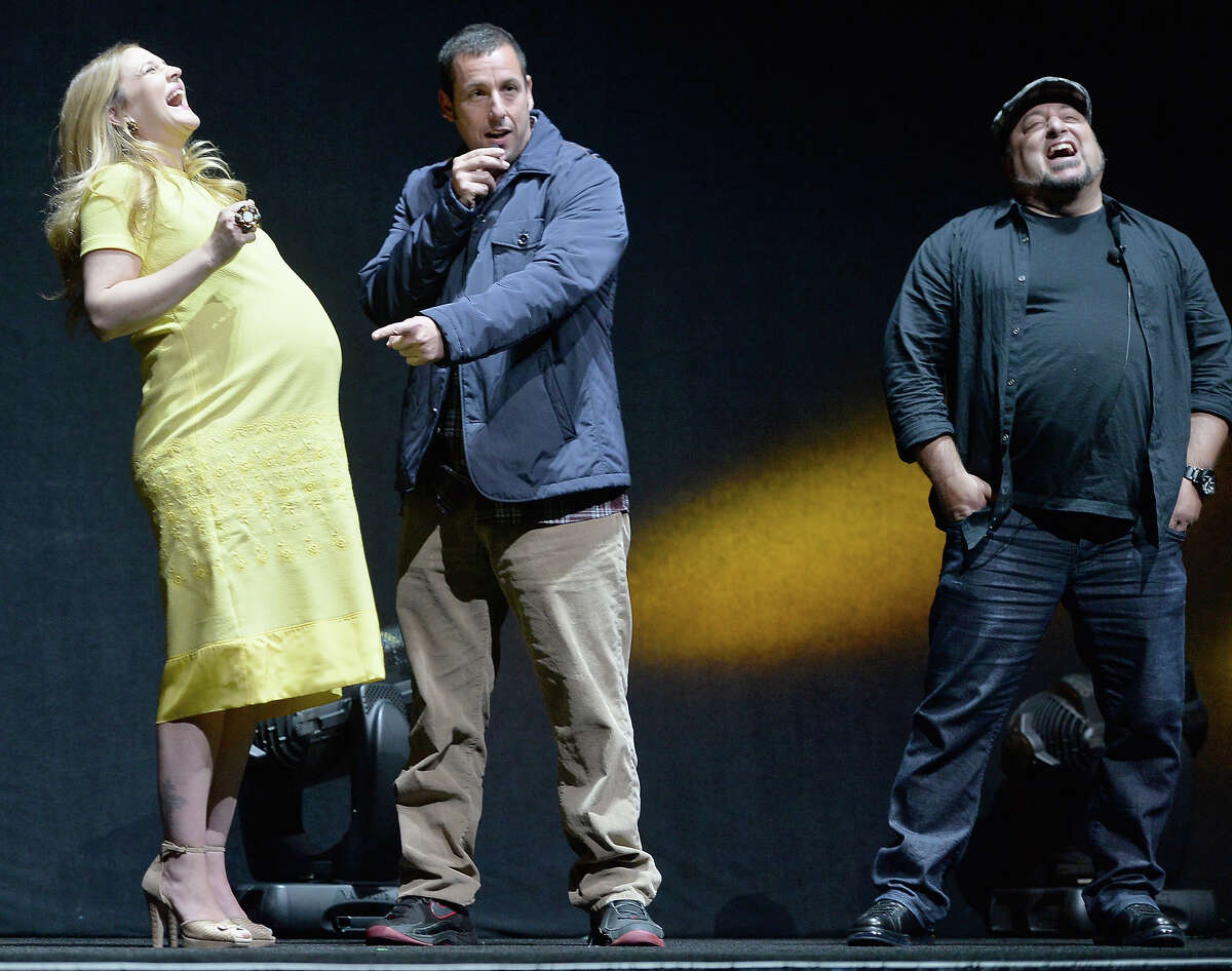 (L-R) Actors Drew Barrymore, Adam Sandler and director Frank Coraci onstage during Warner Bros. Pictures' ?