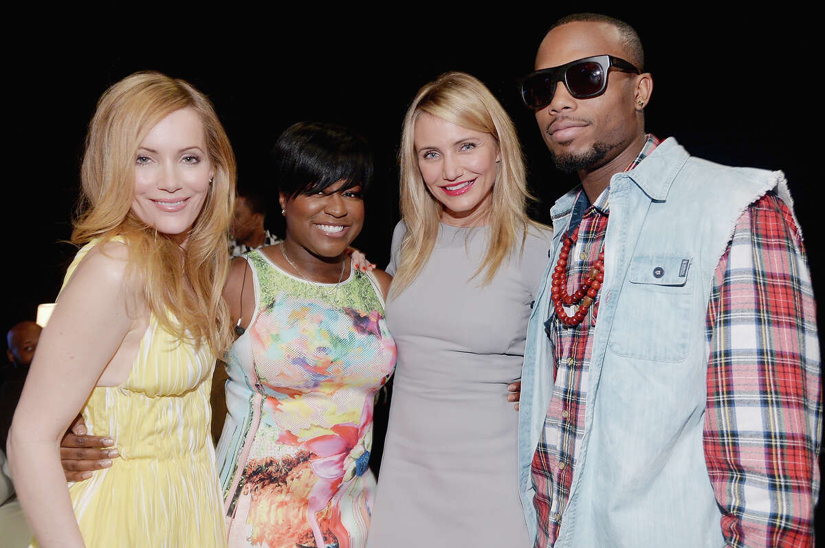 (L - R) Actress Leslie Mann, Ester Dean, actress Cameron Diaz and B.O.B. attend 20th Century Fox's Special Presentation Highlighting Its Future Release Schedule during CinemaCon, the official convention of the National Association of Theatre Owners, at The Colosseum at Caesars Palace on March 27, 2014 in Las Vegas.