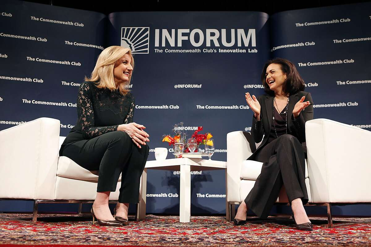 Arianna Huffington, left, President and Editor-in-Chief of the Huffington Post Media Group, is interviewed by Sheryl Sandberg, Facebook COO, during a Commonwealth Club held forum entitled Redefining Success, at Davies Symphony Hall in San Francisco, CA, Thursday March 27, 2014.