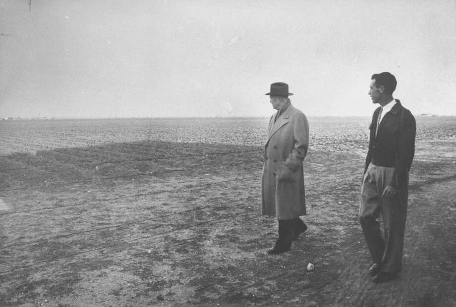 Pres. Dwight D. Eisenhower (L) surveying the effects of a drought in Texas.  (Photo by Paul Schutzer//Time Life Pictures/Getty Images) Photo: Paul Schutzer, Time & Life Pictures/Getty Image