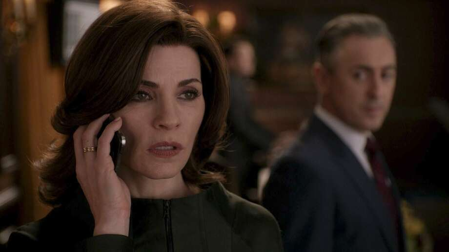 "Alicia Florrick (Julianna Margulies) reacts to tragic news as Eli Gold  (Alan Cumming) looks on in ""The Good Wife's"" episode ""The Last Call."" Photo: CBS Photo"