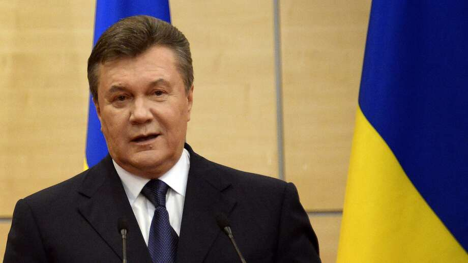 Deposed President Viktor Yanukovych speaks to journalists in the Russian city of Rostov-on-Don. Photo: Alexander Nemenov, AFP/Getty Images