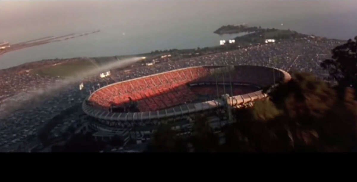 In the Michael Bay thriller, bad guy Ed Harris intends to send a message from his military encampment on Alcatraz, firing a missile at an Oakland Coliseum football game. But when Bay shows a flyover, the game is being played at Candlestick Park. Maybe the target switched because the Raiders' stadium was half empty - the team finished tied for last in the AFC West that year.