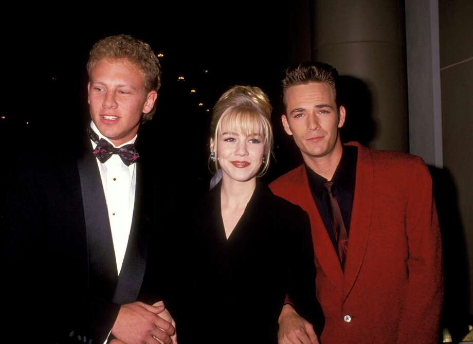 "Ian Ziering celebrates his 50th birthday this month, so let's take a then-and-now look at the cast of ""Beverly Hills, 90201.""Above: Ian Ziering, Jennie Garth, and Luke Perry seen in the early 1990s. Photo: Ron Galella, Getty Images / Ron Galella Collection"