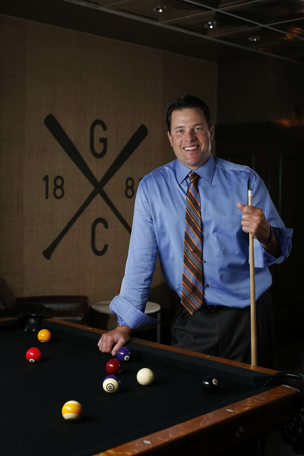 Former San Francisco Giants player JT Snow stands for a portrait at The Gotham Club, a new members-only club inside AT&T Park named after the original team that eventually became the Giants in San Francisco, Calif. on Tuesday, March 25, 2014.