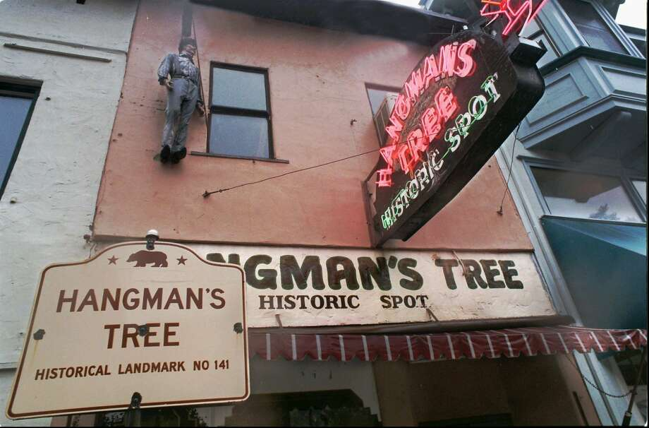 In Nov. 1996, the Hangman's Tree Bar in the California Gold Rush town of Placerville, also known as Hangtown in its mining camp heyday, decorated its facade with a dangling effigy. Photo: Anne Chadwick Williams, Associated Press