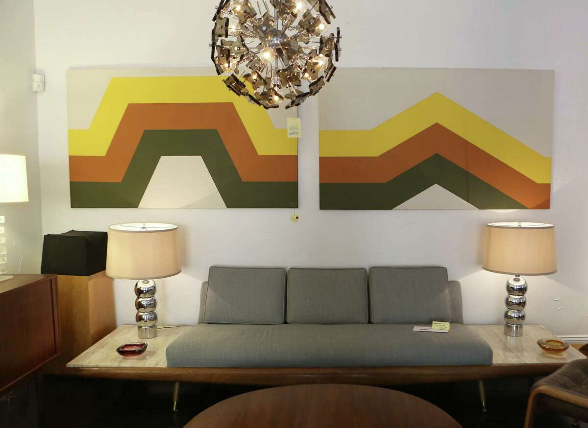 Furnishings with spare lines and a modern appeal, such as these pieces at Mod Pad Mid Century Furniture Store on Broadway, complement homes from the middle 20th century.