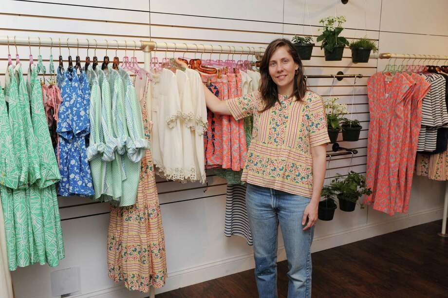 Lauren Moffatt, who has a clothing line by the same name, at her first ever pop up shop on Greenwich Avenue in Greenwich, Conn. on Friday March 28, 2014. Photo: Dru Nadler / Stamford Advocate Freelance