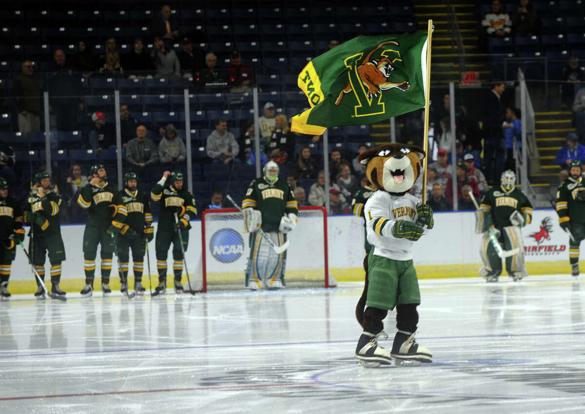 NCAA Men's Ice Hockey East Regional action between Vermont and Union College at the Webster Bank Arena in Bridgeport, Conn. on Friday March 28, 2014.