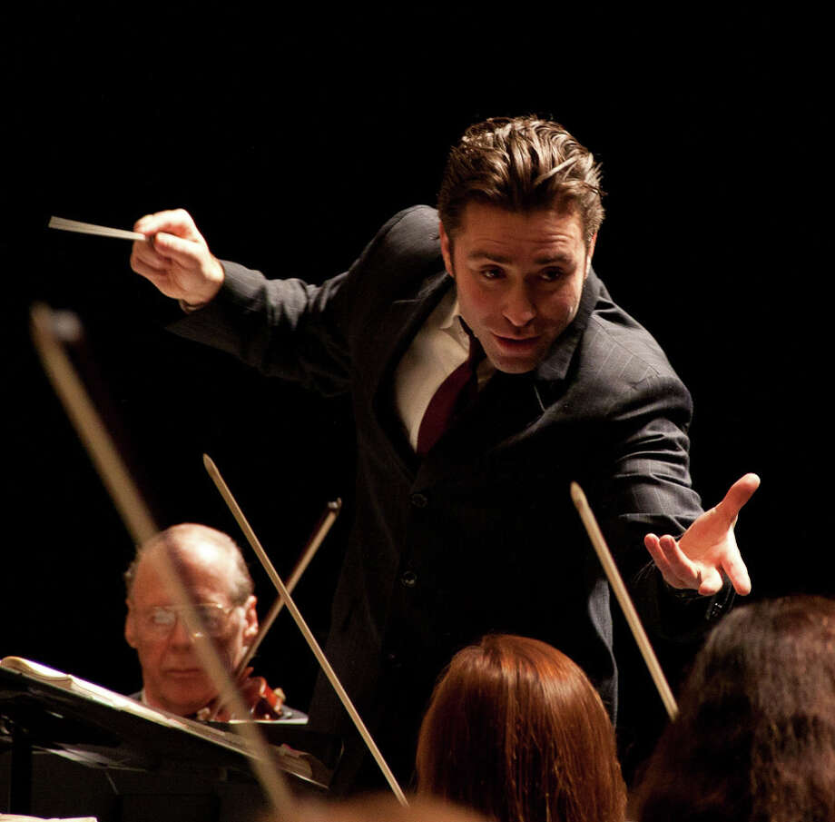 Jacomo Bairos, of Charlotte, N.C., is the fifth and final candidate to succeed Gustav Meier as music director of the Greater Bridgeport Symphony. He conducts the orchestra on Saturday, April 12, at 7:30 p.m. at Bridgeport's Klein Memorial Auditorium. Photo: Contributed Photo / Connecticut Post Contributed