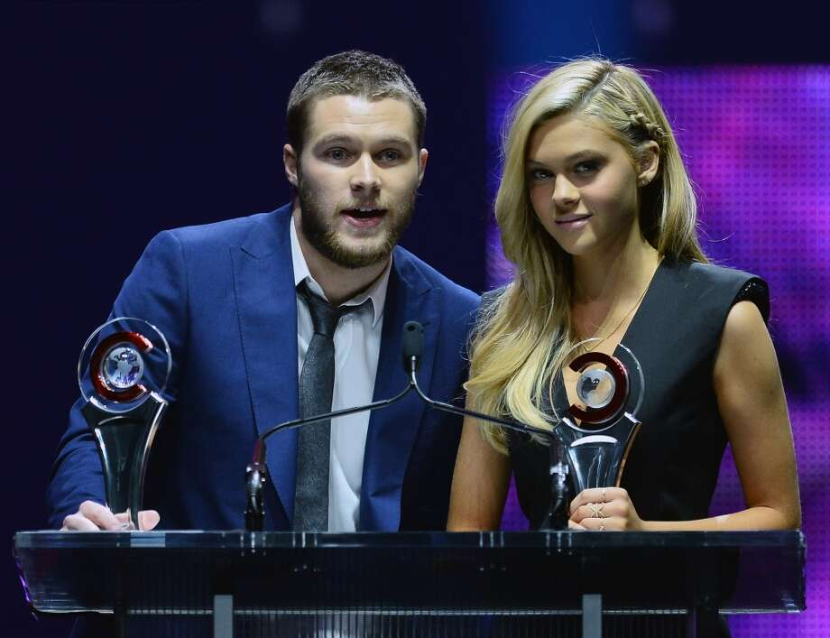 Rising Stars of 2014 award winners Jack Reynor (L) and Nicola Peltz speak during The CinemaCon Big Screen Achievement Awards at The Colosseum at Caesars Palace on March 27, 2014 in Las Vegas, Nevada. Photo: Ethan Miller, Getty Images For CinemaCon