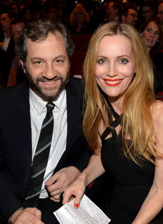 Producer Judd Apatow (L) and Comedy Star of the Year award winner Leslie Mann attend The CinemaCon Big Screen Achievement Awards at CinemaCon in Las Vegas. Photo: Michael Buckner, Getty Images For CinemaCon