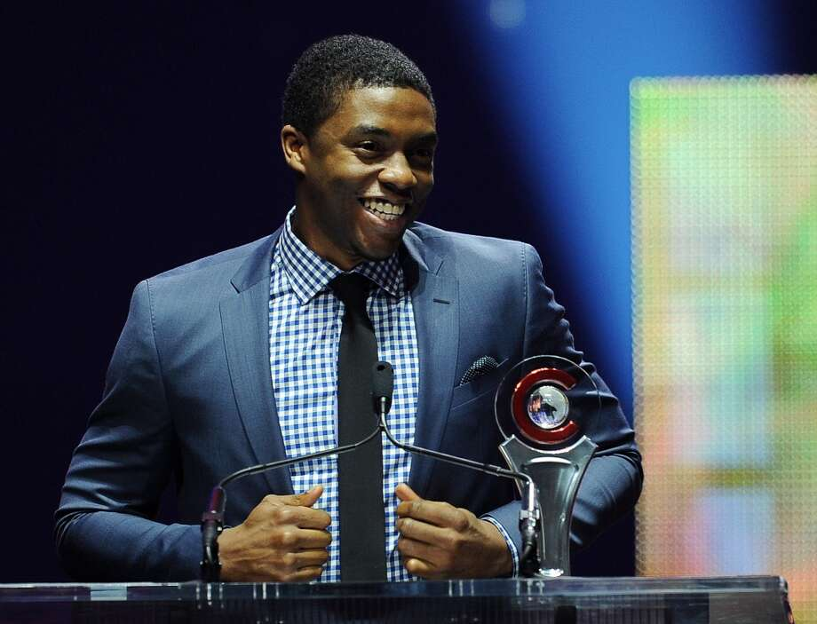 Actor Chadwick Boseman accepts the Male Star of Tomorrow award at the Big Screen Achievement Awards at CinemaCon 2014 on Thursday, March 27, 2014 in Las Vegas. Photo: Chris Pizzello, Associated Press