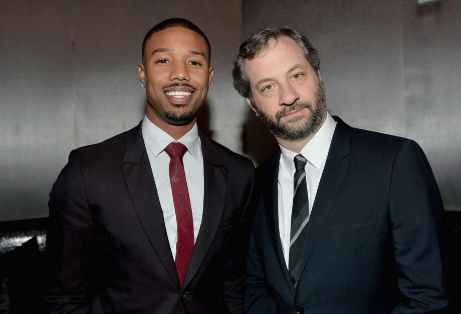 Actor Michael B Jordan (L) and producer Judd Apatow attend The CinemaCon Big Screen Achievement Awards at CinemaCon in Las Vegas. Photo: Alberto E. Rodriguez, Getty Images For CinemaCon
