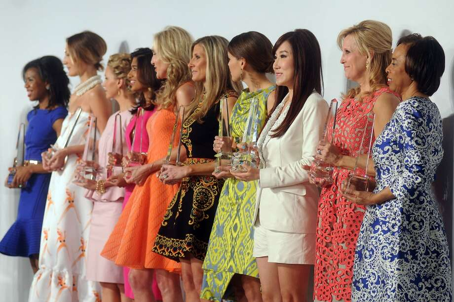 From left: Honorees Claire Cormier-Thielke, Tatiana Massey, Courtney Hill Fertitta, Divya Brown, Jana Arnoldy, Gina Bhatia, Estela Cockrell, Mandy Kao, Vanessa Sendukas and Phyllis Williams onstage together. Photo: Dave Rossman, For The Houston Chronicle