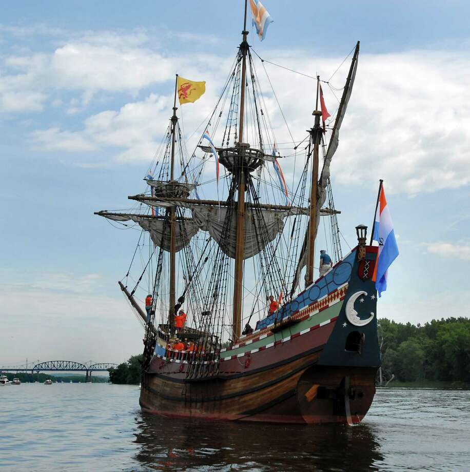 A replica of Henry Hudson's boat, the Halfmoon, leaves port and prepares to sail north to Albany on the Hudson River with a flotilla on Saturday, June 13, 2009, in Coeymans, N.Y. (Cindy Schultz / Times Union) Photo: CINDY SCHULTZ / 00004269A