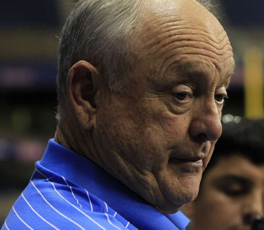 Nolan Ryan speaks to the media before the start of the game. Photo: Karen Warren, Houston Chronicle