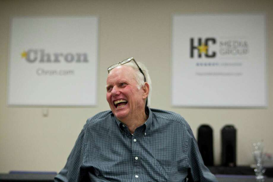 Longtime news editor Ernie Williamson laughs during his retirement party Friday, March 28, 2014, at the Chronicle's downtown office. Photo: Brett Coomer, Houston Chronicle / © 2014 Houston Chronicle