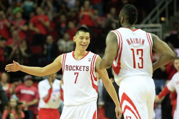 Jeremy Lin, left, will be seeing a lot more court time with James Harden now that Lin is returning to the starting job. Lin has had a year to grow into the role.