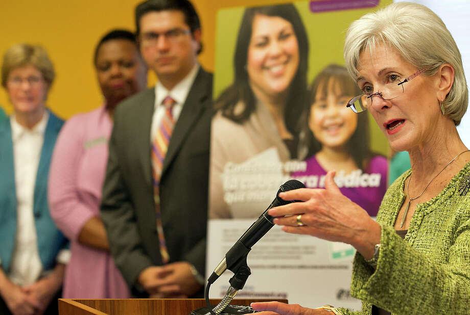 U.S. Secretary of Health and Human Services Kathleen Sebelius visited a call center at United Way of Greater Austin Friday, March 28, 2014, in Austin, Texas, to highlight local efforts to enroll consumers in affordable health coverage, just three days before the March 31 enrollment deadline.   (AP Photo/Austin American-Statesman, Ralph Barrera) Photo: Ralph Barrera, MBO / Austin American-Statesman. State