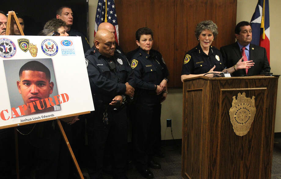 Bexar County Sheriff Susan Pamerleau speaks about the apprehension of fugitive Joshua Louis Edwards, who failed to show for his sentencing on a charge of aggravated promotion of prostitution. Photo: John Davenport / San Antonio Express-News / ©San Antonio Express-News/Photo may be sold to the public