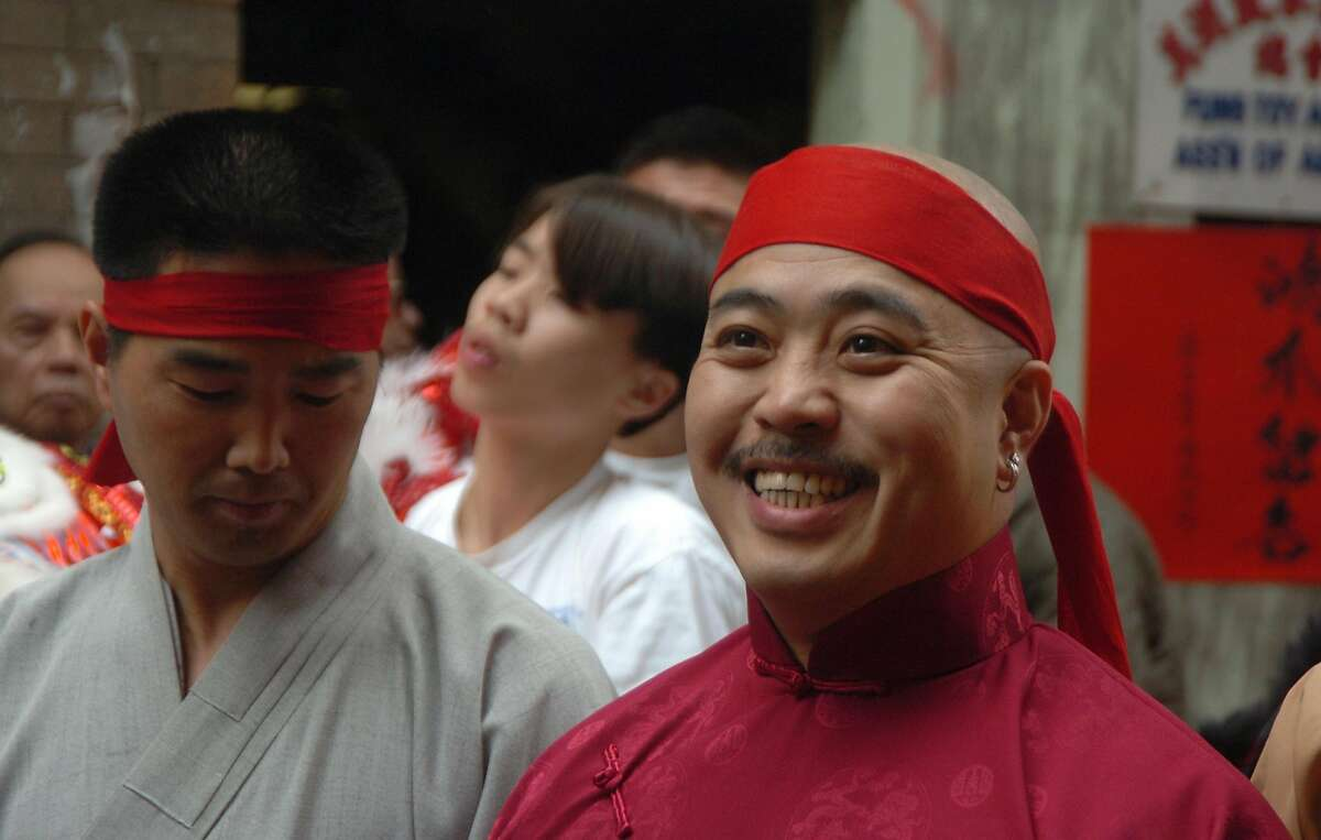 """In this photo taken Aug. 6, 2006, Raymond """"Shrimp Boy"""" Chow is shown after being sworn in as the """"Dragon Head"""" of the Chee Kung Tong in Chinatown in San Francisco. Investigators say Chow is the leader and the dragonhead of one of the most powerful Asian gangs in North America. Chow's gang is said to have lured state Sen. Leland Yee into its clutches through money and campaign contributions in exchange for legislative help, as Yee sought to build his campaign coffers to run for California secretary of state. Born in Hong Kong in 1960, Chow came to the United States at 16 and was reportedly nicknamed """"Shrimp Boy"""" by his grandmother, in part due to his small stature. (AP Photo/Sing Tao Daily)"""
