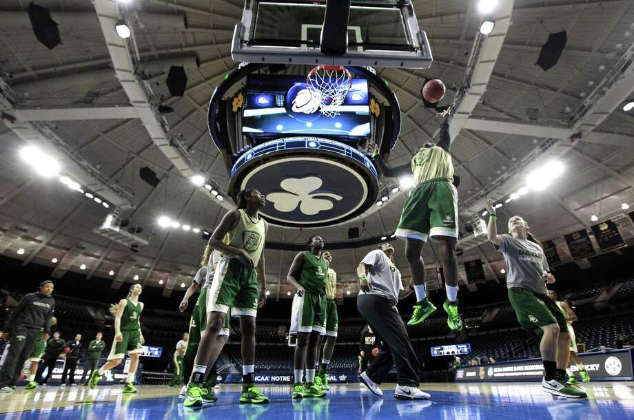 Baylor's Lady Bears, practicing for their NCAA regional semifinal at Purcell Pavilion on the Notre Dame campus, lost 133-130 in four OTs in their previous game against Kentucky. Photo: Paul Sancya / Associated Press / AP