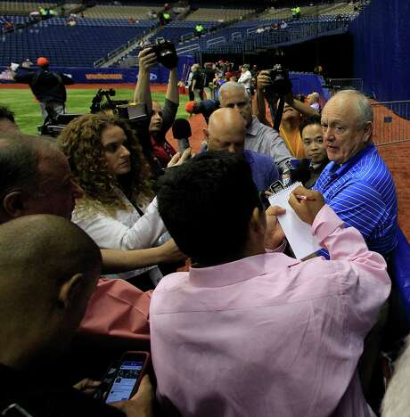 Astros special adviser Nolan Ryan, who was president of the Rangers until October 2012, was the center of attention before Friday's game at the Alamodome. Photo: Karen Warren, Staff / © 2014 Houston Chronicle