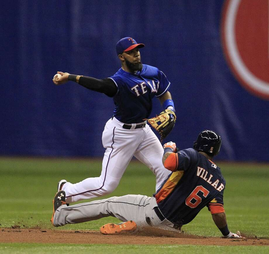 Elvis Andrus tags out Houston Astros Jonathan Villar at second. Photo: Karen Warren, Houston Chronicle