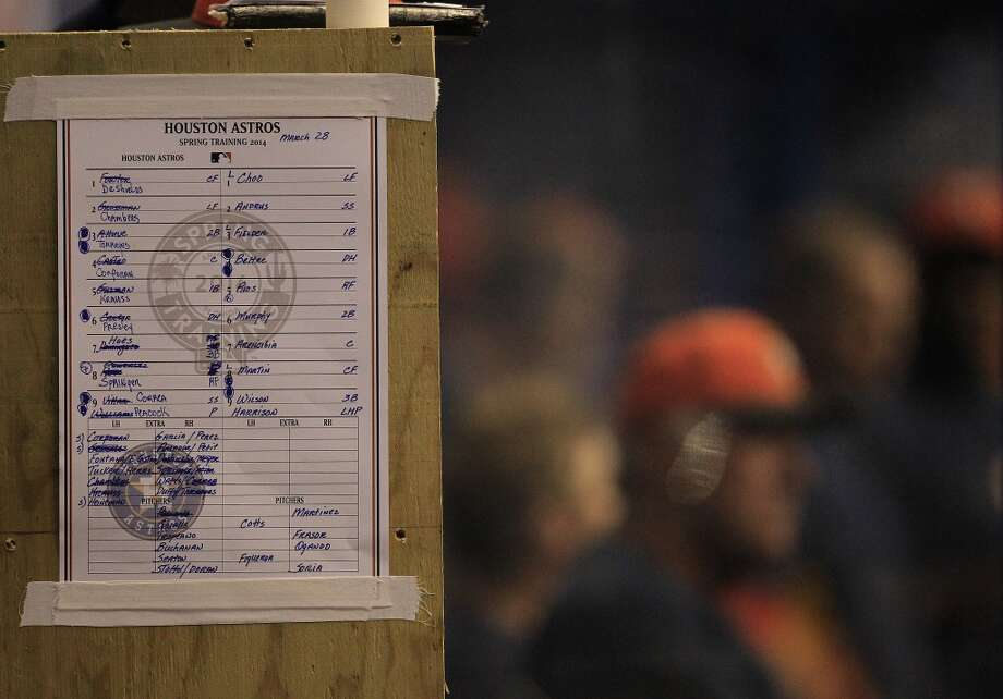 The Astros lineup in their dugout. Photo: Karen Warren, Houston Chronicle