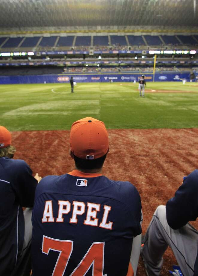 Astros RHP Mark Appel watches the game from the bullpen. Photo: Karen Warren, Houston Chronicle