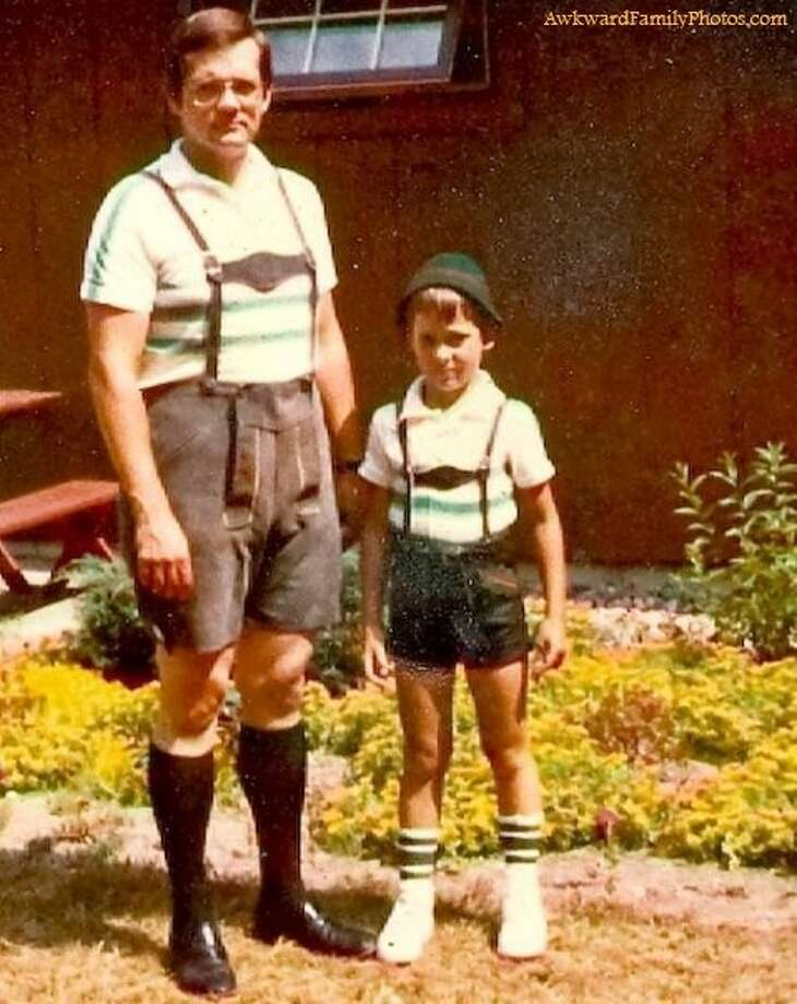 A trip to Germany calls for serious lederhosen bonding. Photo: Awkward Family Photos