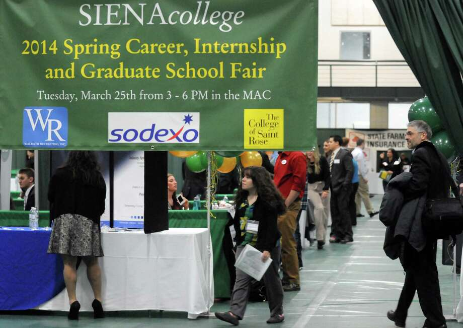 Siena College held its spring Career, Internship and Graduate School Fair at the Marcelle Athletic Complex on Tuesday March 25, 2014 in Loudonville, N.Y. (Michael P. Farrell/Times Union) Photo: Michael P. Farrell / 00026238A