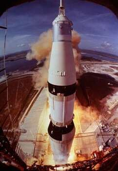 "The 3,817 ton ship rises from the earth. Who gave the order for ignition? Jack King, the ""voice of Apollo."" Apollo 11 video here. Photo: AP"