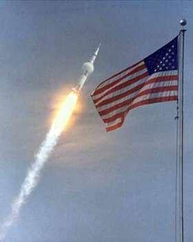 Apollo 11 launches into orbit. Apollo 11 video here. Photo: NASA