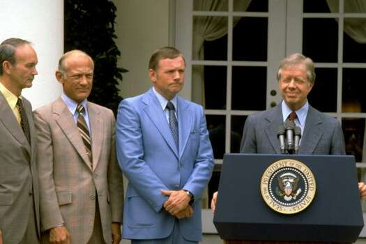 President Jimmy Carter is shown at the White House with the Apollo 11 crew in July of 1979, left to right:  Buzz Aldrin, Michael Collins, and Neil Armstrong. Photo: ASSOCIATED PRESS