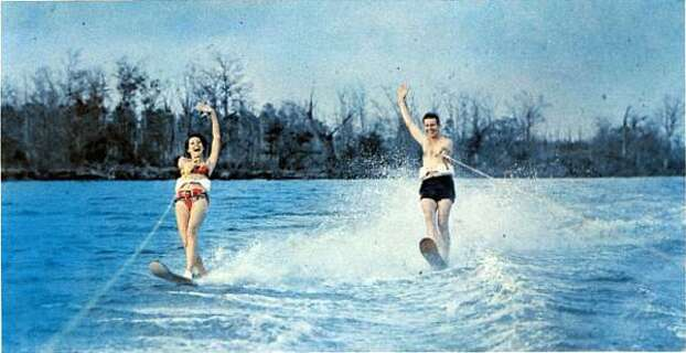 "Before there were Jet Skis, there was water skiing. A 1965 brochure for Clear Lake City emphasizes that the area had already been ""a center for boating, fishing, water skiing and other water sports for years."" Photo: Friendswood Development Co."