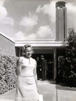 Joan Aldrin, wife of Apollo 11 astronaut Buzz Aldrin, leaves Webster Presbyterian Church in 1969. Each year for the past 40 years, the church has commemorated the astronaut's communion service on the moon. Other astronauts who attended the church were John Glenn and Roger Chaffee. Photo: Ray Covey, Houston Post