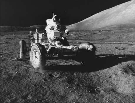 Astronaut Eugene A. Cernan makes a short checkout of the Lunar Roving Vehicle during the early part of the first Apollo 17 extravehicular activity (EVA-1) at the Taurus Littrow landing site. Photo: Harrison Schmitt, NASA File