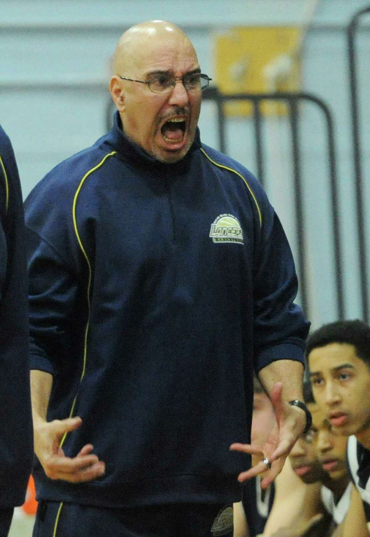 Notre Dame Fairfield coach Vin Laczkoski yells during his team's 72-46 win over New Fairfield in the high school boys basketball game at New Fairfield High School in New Fairfield, Conn. on Thursday, Jan. 30, 2014.