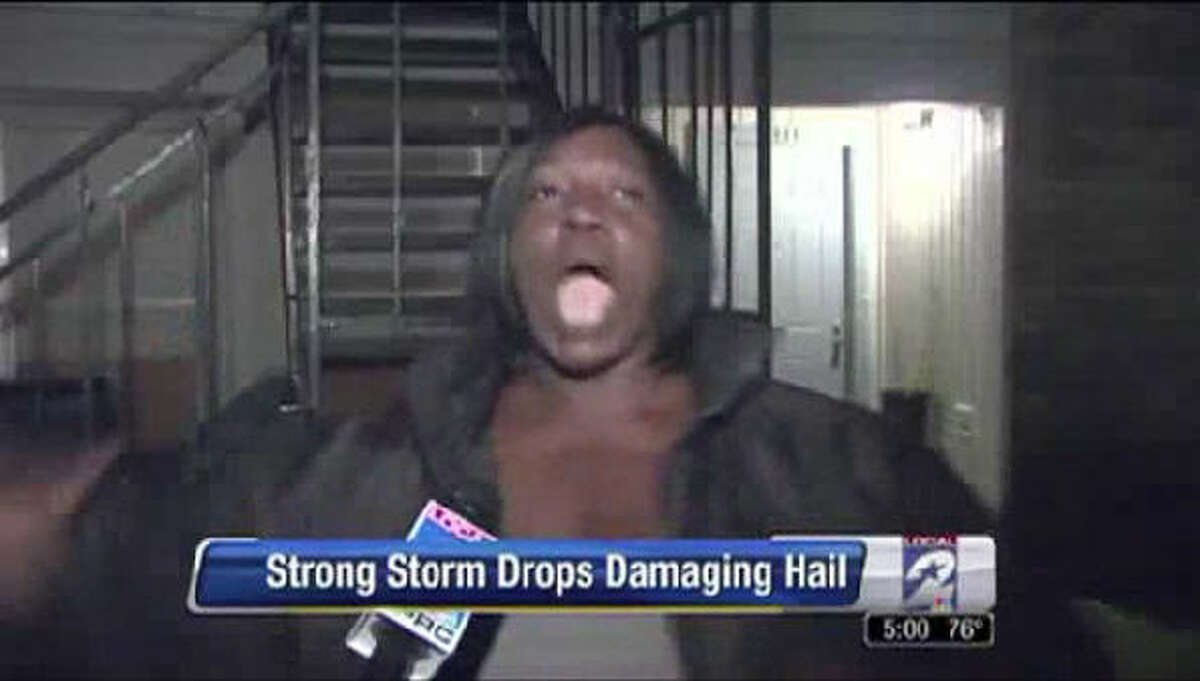In March 2013, Houston's KPRC-TV met Michelle Clark who proceeded to tell them what happened after quarter-size hail fell on her apartment. She became a viral sensation after using the word