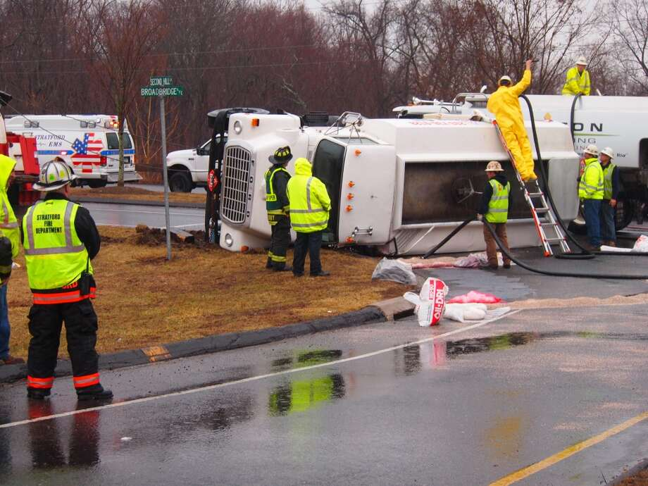 Hazmat units were called to the scene of an overturned oil truck in Stratford Saturday afternoon. Photo: David Adams