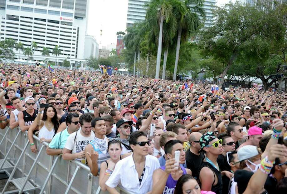 MIAMI, FL - MARCH 28:  Atmosphere as Diplo performs during the Ultra Music Festival at Bayfront Park Amphitheater on March 28, 2014 in Miami, Florida. Photo: Getty Images / Tim Mosenfelder