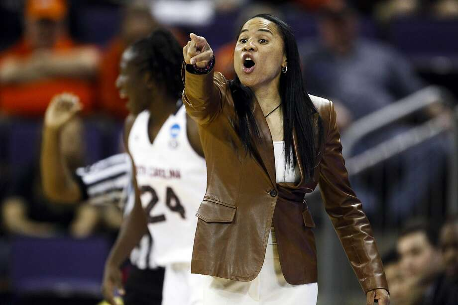 South Carolina coach Dawn Staley, instructing her players in the second round, played Olympic ball for Tara VanDerveer. Photo: Joe Nicholson, Reuters