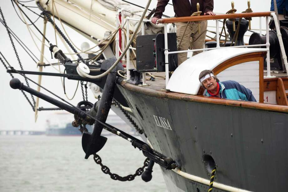 The crew of the 1877 tall ship Elissa prepare her to sail for the first time in more than four years Saturday, March 29, 2014, in Galveston. Elissa once again returned to the open waters of the Gulf of Mexico with guests and supporters aboard for a first hand look at her completed restoration. Photo: Brett Coomer, Houston Chronicle / © 2014 Houston Chronicle