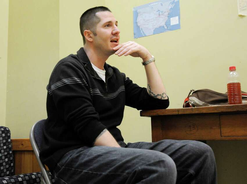 Joseph Linsley, a resident of Hope House, talk about his past struggles with heroin, during an interview on Monday, March 24, 2014, in Albany, N.Y. Linsley is in the intensive residential program, where he lives at Hope House and gets his treatment there. (Paul Buckowski / Times Union)