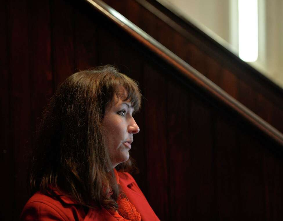 Kathy Willis of Petersburg, the mother of a child in rehab, spoke to the addiction treatment and recovery advocacy group Tuesday morning at the Emmanuel Baptist Church in Albany, N.Y. (Skip Dickstein / Times Union)