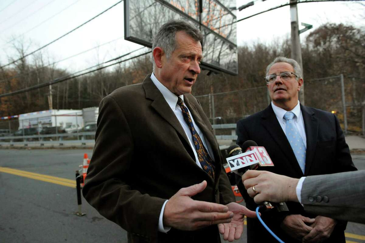Troy city engineer Russ Reeves, left, and Mayor Lou Rosamilia speak to the media about closing the Spring Avenue Bridge Friday, Nov. 15, 2013, in Troy, N.Y. (Cindy Schultz / Times Union archive)